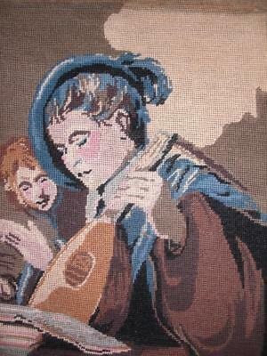 """Vintage completed cotton needlepoint Two Boys Singing by Frans Hals 17.5""""x14"""""""
