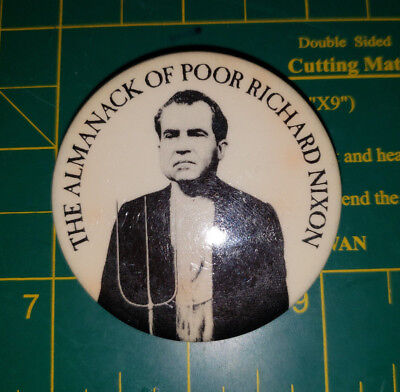 Vintage 1968 Almanack of Poor Richard Nixon Book Promo Pinback Button