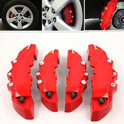 4x 3D Style Car Red Brembo Covers Front & Rear Universal Disc Brake Caliper Case