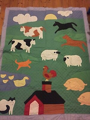 Baby boy/girl Cot Coverlet/ bedding/ quilt With Animals Patchwork