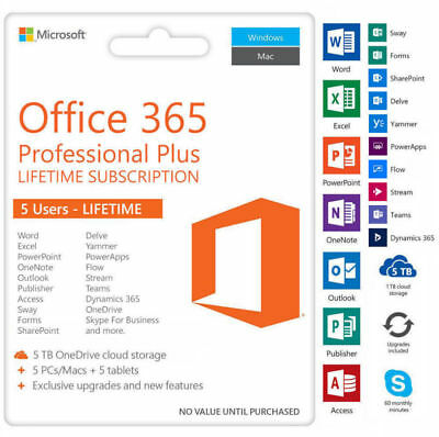 OFFICE 365 / 2019 Pro Plus Lifetime for 5 devices + 5TB Onedrive