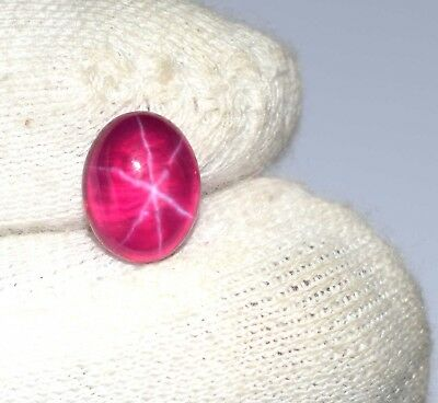 Blood Red Star Ruby Loose Gemstone 3.70 Ct Natural Oval 6 Rays Certified C4876