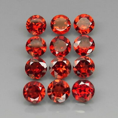 Round 6 mm.Outstanding! Natural Red Mozambique Garnet Africa 12Pcs/11.34Ct.