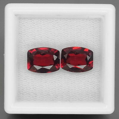 Cushion 9x7 mm.PAIR! Outstanding Natural Red Mozambique Garnet Africa 5.10Ct.