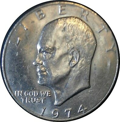 1974-P Eisenhower Dollar Error Coin Missing FG Designer Initials Struck Through