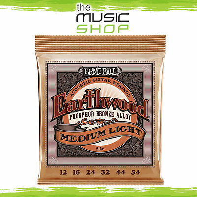 5 x Ernie Ball 2146 Earthwood 12-54 Phosphor Bronze Acoustic Guitar Strings