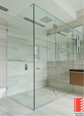 10mm Fully Frameless Shower Screen 800/850 /900/1000/1150/1200mm (Chrome)