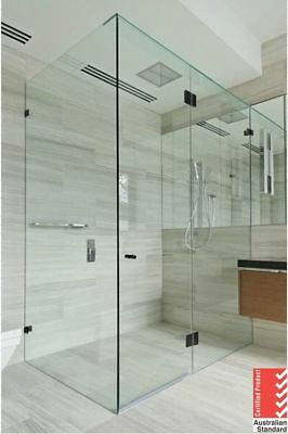 10mm Fully Frameless Shower Screen 800/850 /900/950/1000/1100/1150/1200mm (BLK)