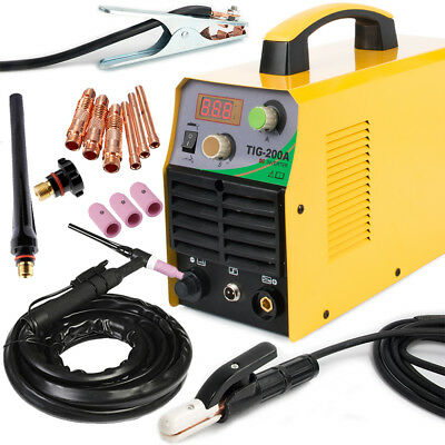TIG 220V DC Inverter 200Amp Argon Gas WIG & ARC STICK MMA Welding Machine Welder
