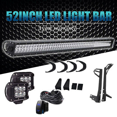 """52Inch 300W LED Light Bar F/S Combo+18W 4"""" CREE PODS OFFROAD FIT SUV 4WD Ford"""