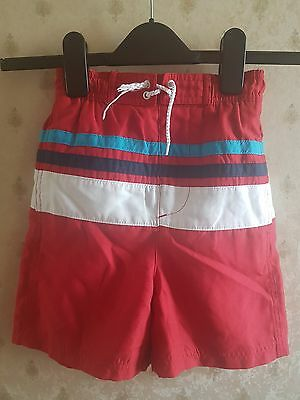 Lovely Boy's George Red & Multi Colour Stripe Pocket Swim Shorts, size 5-6 years