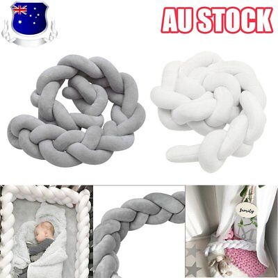 2/3M Infant Baby Plush Crib Bumper Bedding Bed Cot Braid Pillow Pad Protector OD