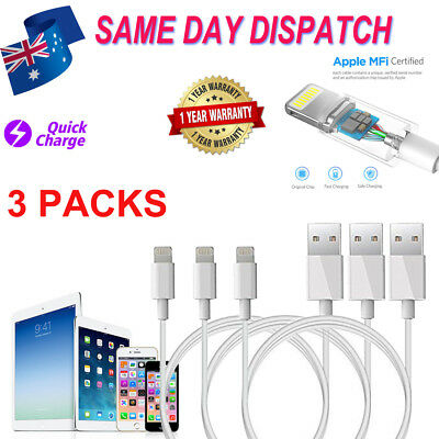 3 X Lightning Cable Charger compatible Genuine Apple iPhone 5 6 7 Plus  8 X iPad