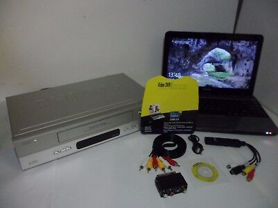 VCR VHS Video Cassette player to Digital PC Laptop DVD conversion transfer kit