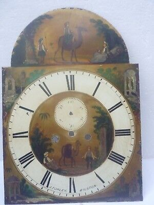 ANTIQUE ENAMELLED LONG CASE grandfather CLOCK FACE dial  J. TORLEY, BILSTON