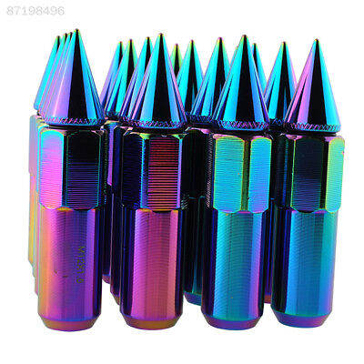 B74F 16pcs 24K NEO Chrome Spiked Aluminum 90MM Extended Lug Nuts For Wheels Tyre