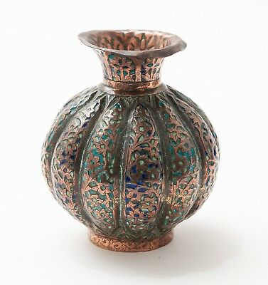 Antique Persian Hand Beaten & Chased Copper and Enamel Panels Vase