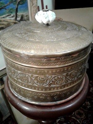 Vintage / Antique Tiffin / Dabbas Style Carrier Lunch Box Brass Etched Handmade