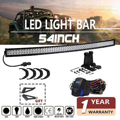 "54Inch 312W Led Light Bar Flood Spot Driving For Suv Jeep Truck Motor 54"" US"