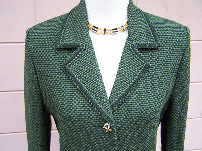 St. John Skirt Suit Sz 6 Jacket Blazer Santana Knit Wool Tweed Green Marie Gray