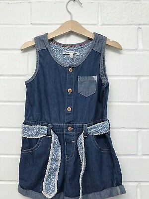 W5. Mantaray Denim Jumpsuit Girls Age 3-4