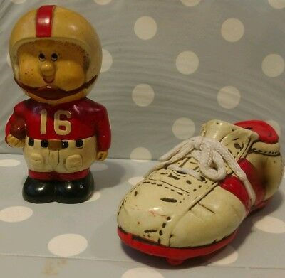 VINTAGE COIN BANKS- Football Player & Athletic Shoe