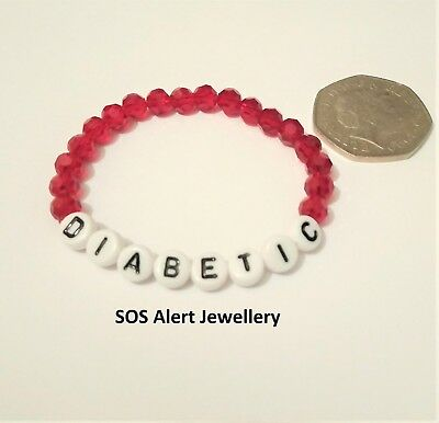 KIDS Medical Alert Warning Emergency SOS Bracelet Beautiful Crystal Cut Beads