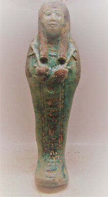 Scarce Ancient Egyptian Glazed Faience Ushabti Shabti With Heiroglyphics