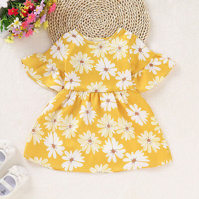 Kid Baby Girls Short Sleeve Princess Dress Outfit Floral Party Sundress Clothes
