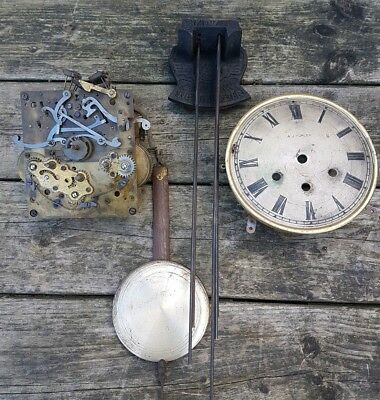Antique Clock Face, Movement,  Chimes And Pendulum.