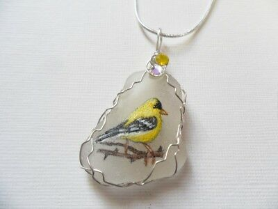"Goldfinch bird art sea glass necklace hand painted to order 18"" silver chain"