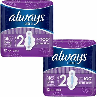 Always Ultra Long Serviettes Hygiéniques Coussinets Taille 2 Femmes Absorbant