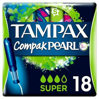 Tampax Compak Perle Super Tampons Application Femmes Fuite Protection Lot de 18