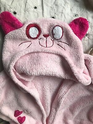 Super Cute And Cosy Pink Fleece Pussy Cat Hooded Dressing Gown Age 6-7 Years