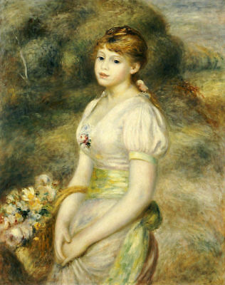 LMOP435  lovely girl portrait with beautiful flowers art oil painting on canvas