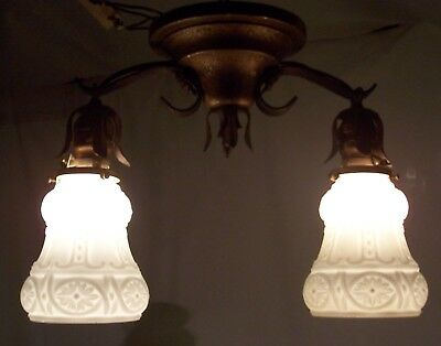 Antique Vtg Victorian Ceiling Fixture Flush Light Brass Iron Rewired USA #H76