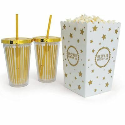 Popcorn Bucket and Straw cup Home Cinema Movie Night In Sharing Set