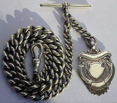 Lovely antique solid sterling silver pocket watch albert chain &solid silver fob