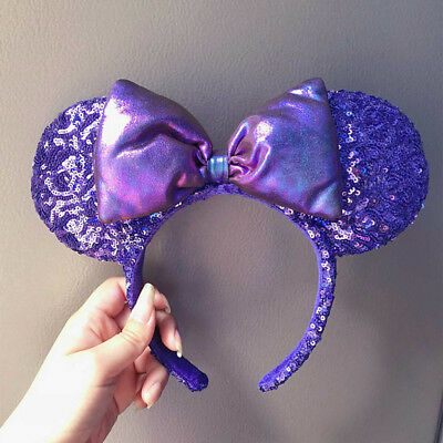 Genuine Disney Parks Potion Purple Minnie Mouse Ears Bow Sequins Headband New
