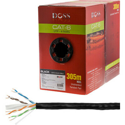 305M Cat6 Solid Cable Black Sold As 305M Roll Only