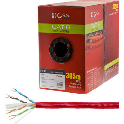 305M Cat6 Solid Cable Red Sold As 305M Roll Only