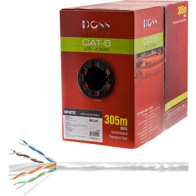 305M Cat6 Solid Cable White Sold As Roll Only