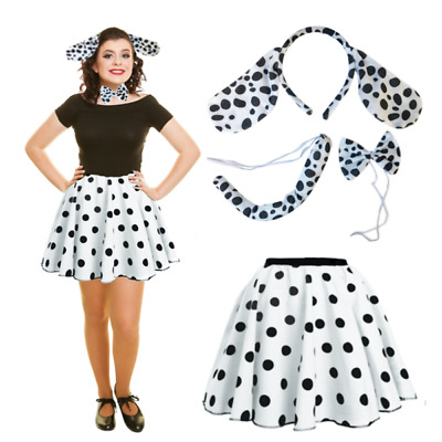 LADIES WORLD BOOK DAY UK 101 Dalmatians Dance Costume Fancy Dress Set Ears Tail