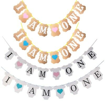 I Am One First 1st Birthday Party Bunting Banner Boy Girl Baby Shower Decor