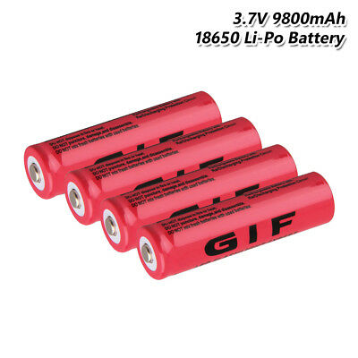 4X 3.7V 9800mAh GIF 18650 Battery Rechargeable For Flashlight Torch Headlamp FD