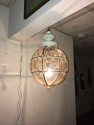 "Vintage Mid Century Amber ""caged"" Glass Swag Light Shade Pendant Bubble Glass"