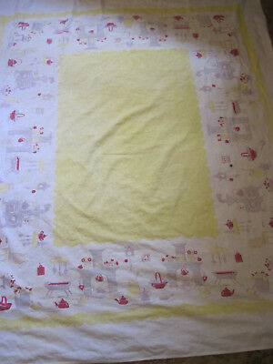 Vtg Mid-Century Cotton Tablecloth YELLOW/RED W/HEARTH/Kitchen Motif  54X65