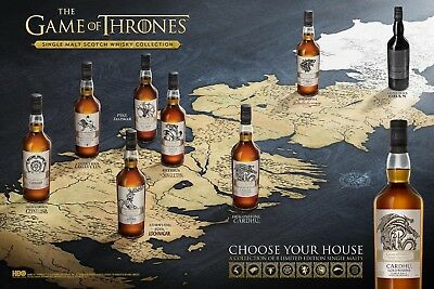 Game of Thrones Poster. Single malt scotch collection whisky NEW COLLECTOR 24X36