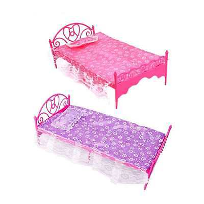 Cute Plastic Bed Bedroom Set Furniture For Dolls Dollhouse Baby Girls Toys Au