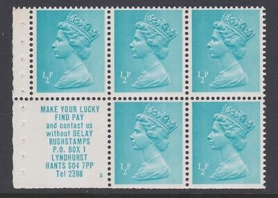 GB EII ½p MINT advertising pane from booklet X841m MNH